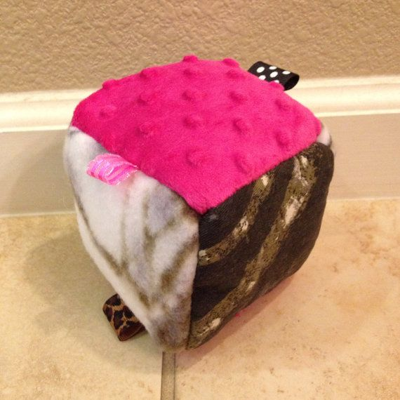 Hot Pink Mossy Oak and True Timber Soft Baby Block, Soft Baby Block Toy, Sensory Baby Toy, Taggie, Rattle Toy, Soft Taggie Rattle Toy on Etsy, $7.95