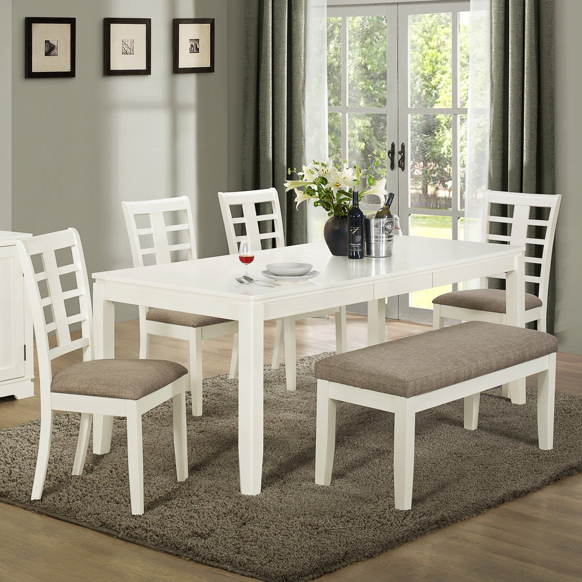 Dining room table with upholstered bench dining room furniture