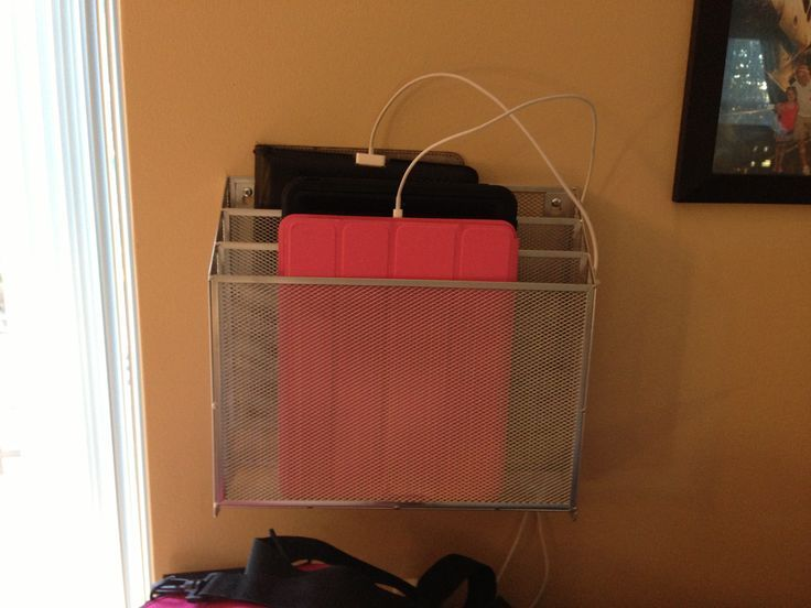 Ipad Charging Station File Organizer Mounted To The Wall Cords Zip Tied Side Prevent Them From Falling Down