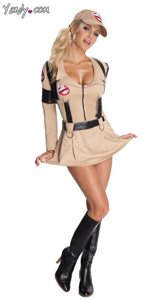 Ladies Ghostbusters Fancy Dress Jumpsuit Halloween Womens Adults Costume Outfit
