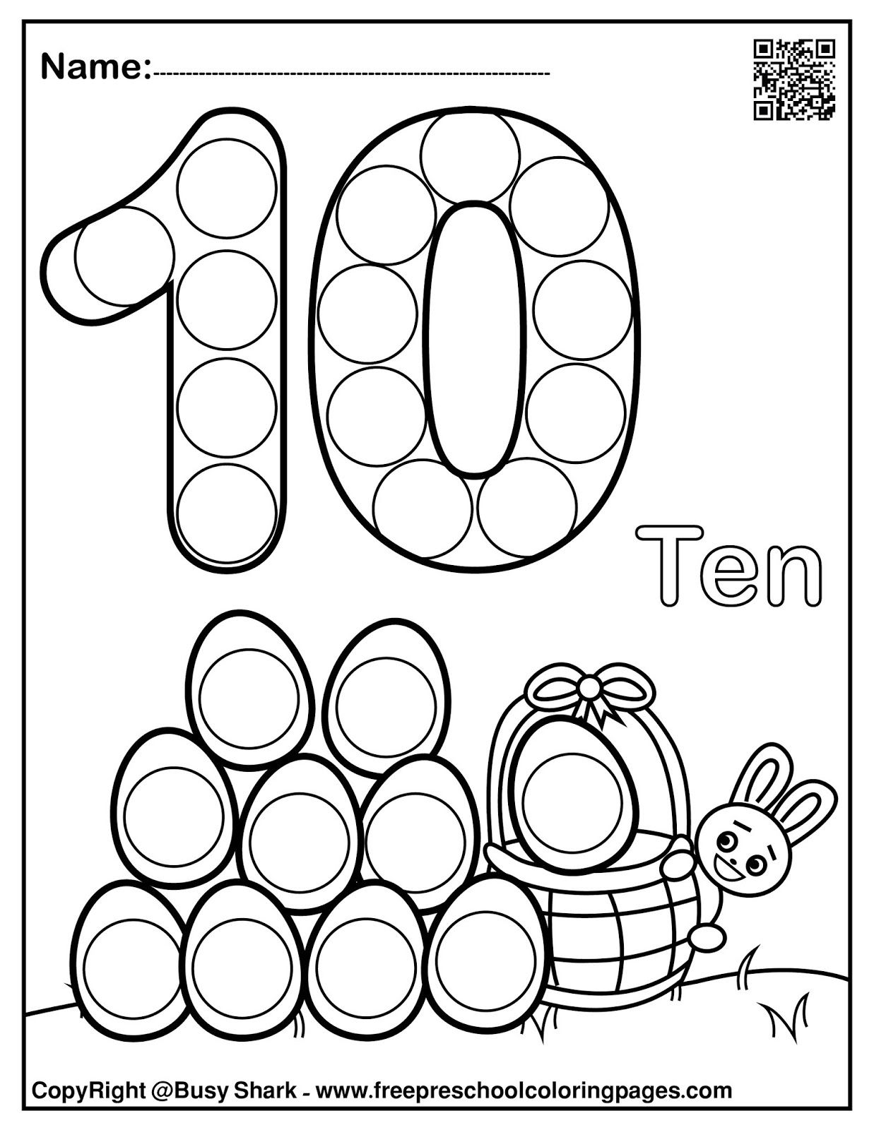 Set Of 123 Easter Dot Marker Free Pages In