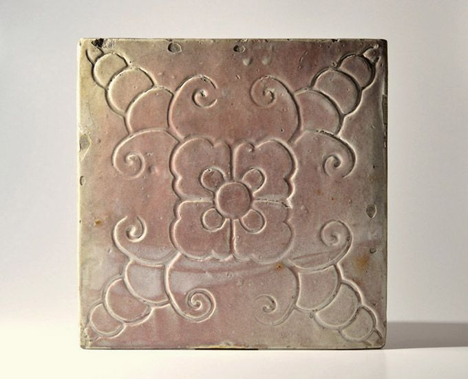 Seto pink-glazed arabesque pottery tile Edo-Meiji 19th