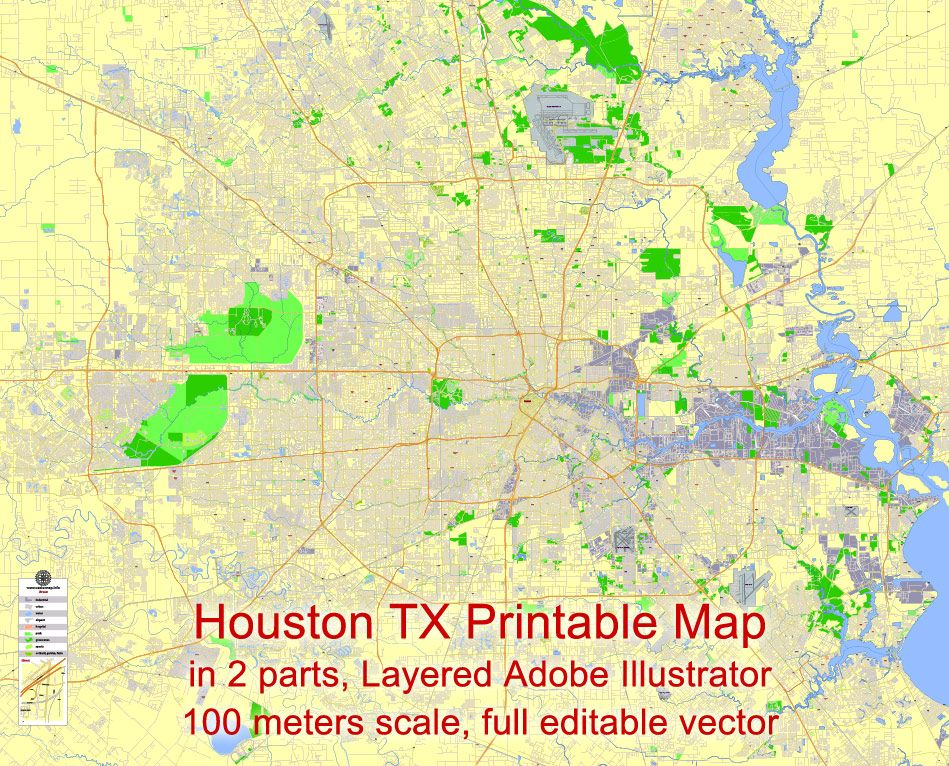 Full Map Of Texas.Houston Printable Map Texas Us Exact Vector City Plan 100 Meters