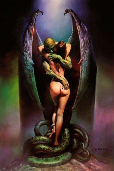 "^♥^ Boris Vallejo's ""Vampire's Kiss"" (1979). #art #favouriteart #vampireart #vampire #embrace #bat #wings #bats"