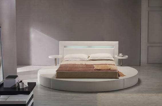 White Leatherette Round Platform Bed Furniture Modern Bedroom