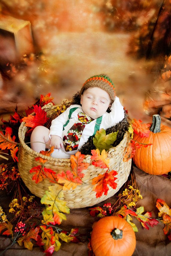 New Fall Thanksgiving Baby Boy Tie Onesie With By