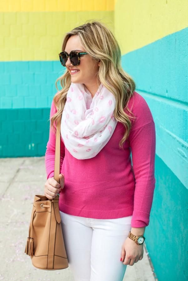 Love the way @bows & sequins // jessica sturdy styled this lip print scarf from @Nordstrom Rack