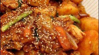 korean spicy chicken stew(dakbokkeumtang)mukbang tayo sarap😋😋 - #chicken #dakbokkeumtang #korean #mukbang #sarap #spicy - #GochujangRecipe