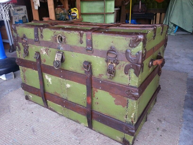 Old steamer trunk hand painted and distressed . #