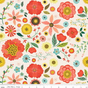 The Fabric Fairy Roots Main Floral Cream Cotton Lycra Knit Fabric by Riley Blake