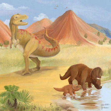 Oopsy Daisy - Dinosaur Mountain Canvas Wall Art 21x21, Bassett ...