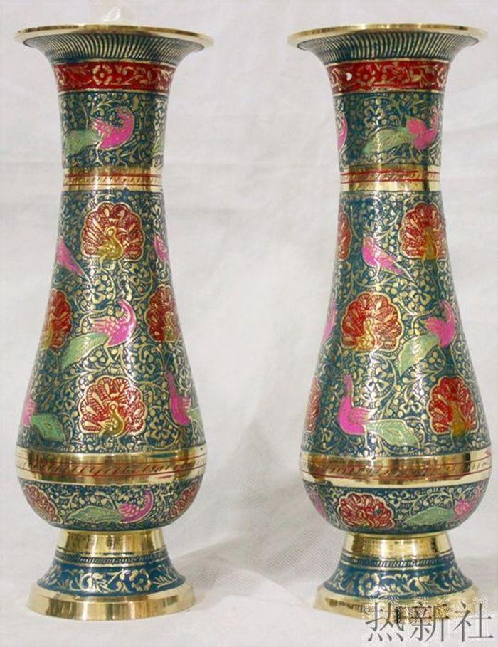India Pakistan Imported Japanese Bronze Blue Vase Handicraft Flower Flower Home Furnishings Red Vases Japanese Bronze Blue Vase