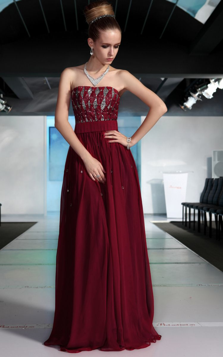 e74897efbdf Dark Ruby Red with Silver Accents Bridesmaid Dress( Like the color ...