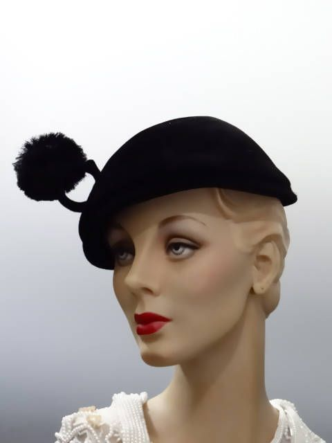 Black Velvet Hat Toque Cone Crown with Feather Poof 1950 s  e3bc0007d94b