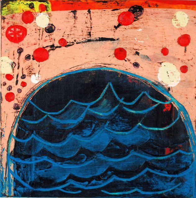"(c) Barbara Gilhooly 6"" x 6"", acrylic on birch blue-dome-2013 by gilhooly studio, via Flickr"