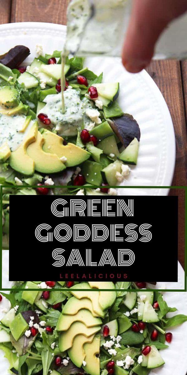 Green Goddess Salad Recipe » LeelaLicious This Green Goddess Salad with bright pomegranate jewels