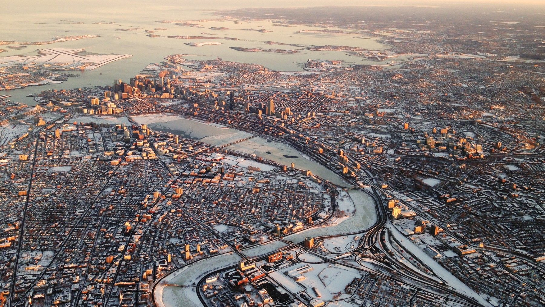 Aerial View Of Boston After A Blizzard