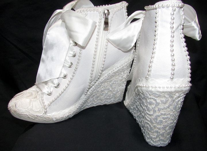 Wedge Heel Shoes For Wedding: Lacy High Top Wedge Bridal Tennis Shoes With Pearls On 4