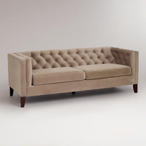 Mushroom Velvet Kendall Sofa Good For