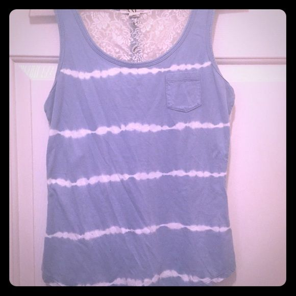 Forever 21 tie-dye and lace summer tank. Size s. Forever 21 light blue tie-dye summer tank with lace button-down detail on back!! Super cute. Great condition. Summer fashion!! Size small. Forever 21 Tops Tank Tops