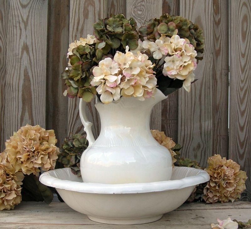 flower arrangements in vintage pitchers Google Search