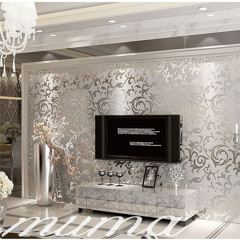 10m Roll Luxury Wedding Centerpieces Gold Silver Double: Silver 3D Victorian Embossed Damask Luxury Wallpaper Rolls