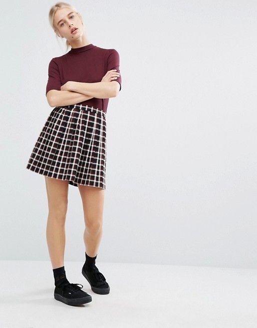be7e0acb9e Monki Check Print Pleated Mini Skirt   Sixth Form Clothes   Pleated ...