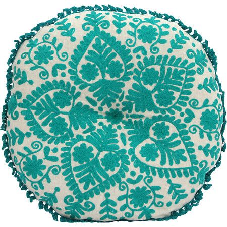 Perfect paired with crisp white linens and a boho-chic comforter, this lovely pillow showcases a green floral motif.Product: P...