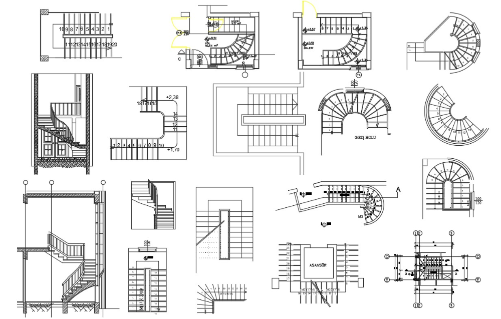 Different Types Staircase Plan And Elevation 2d Autocad File