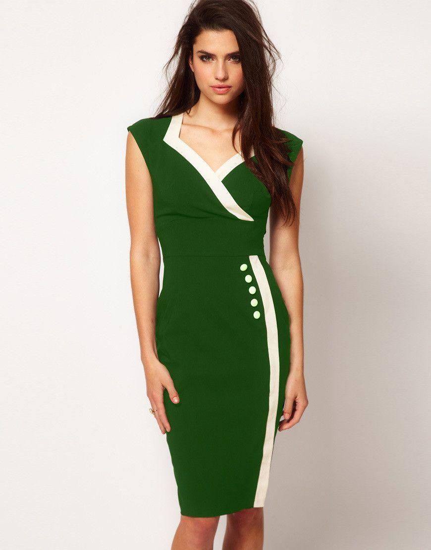 Fashion vneck high waist sheath patchwork office dress dresses