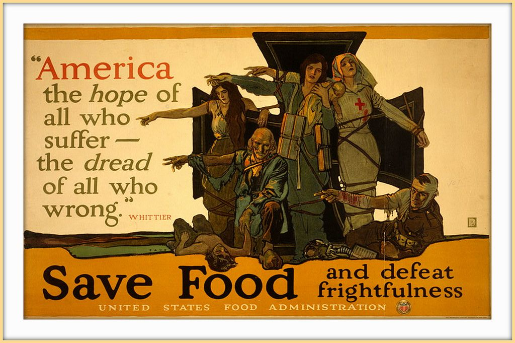 1917 Poster Wwi Save Food And Defeat Frightfulness Herbert