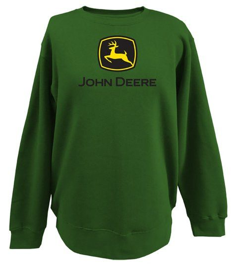 John Deere Crew Neck Fleece Logo Print Mens Shirt
