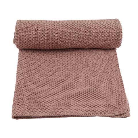 Organic Cotton Knit Baby Blanket Altrosa Babyssimo Babydecke Decke Altrosa