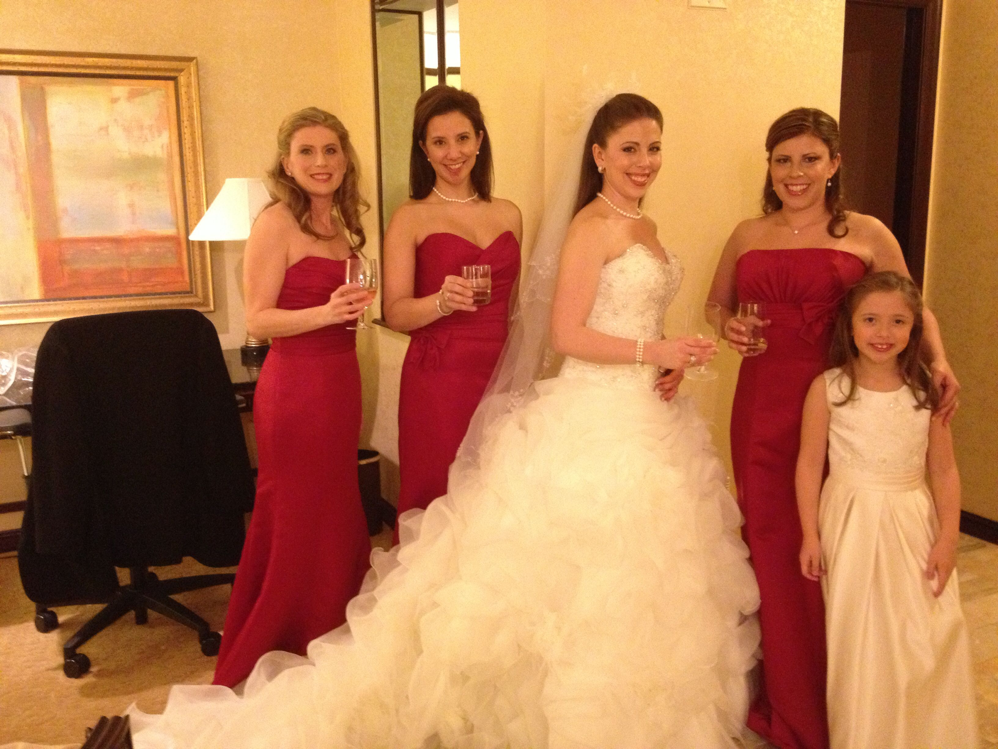 Berry colored bridesmaid gowns love the christmas tree in the berry colored bridesmaid gowns love the christmas tree in the back our christmas wedding marry christmas pinterest berries trees and christmas ombrellifo Images