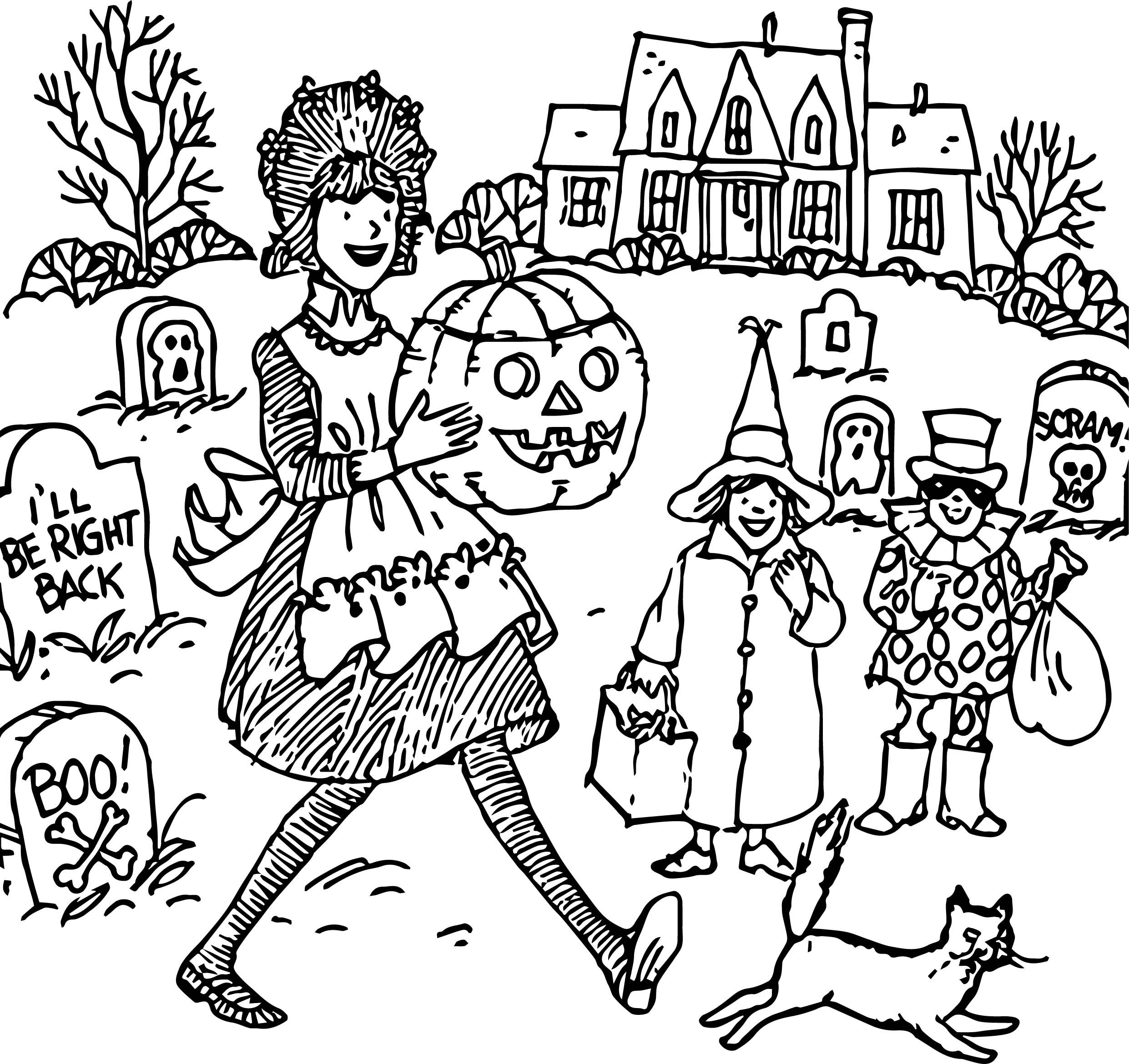 Awesome Happy Haunting Halloween Amelia Coloring Page