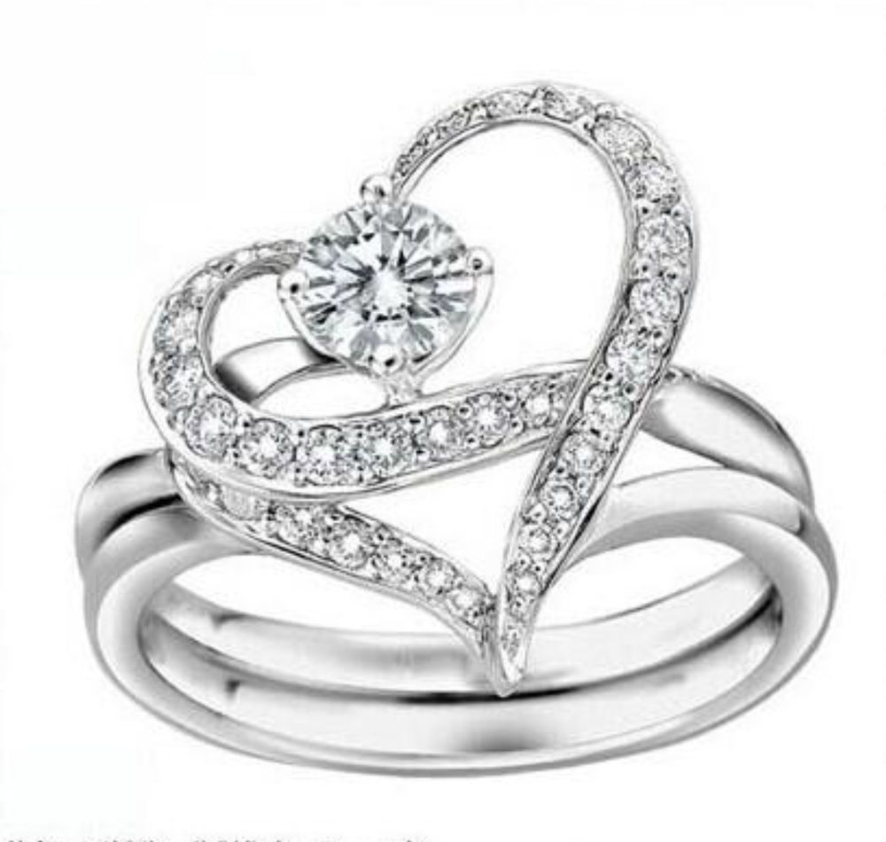 New Platinum Plated Designer Austrian Crystal Heart Dual Ring for Women Girl