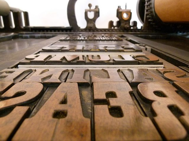 Wood type forme for our 'Guilty Spectacles' letterpress poster by typoretum, via Flickr