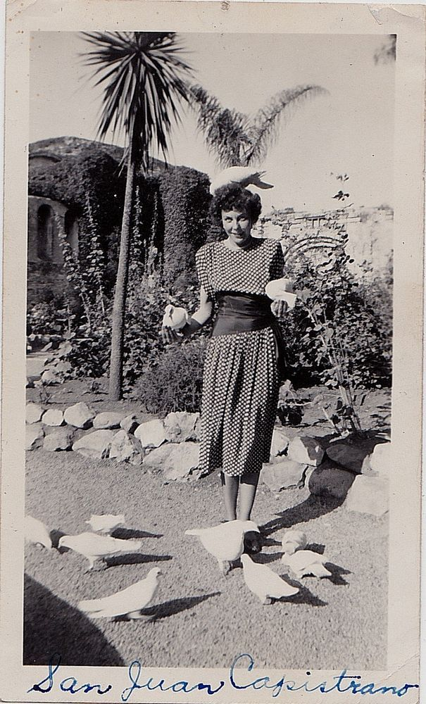 Old Vintage Antique Photograph Sexy Woman Feeding Pidgeons San Juan Capistrano