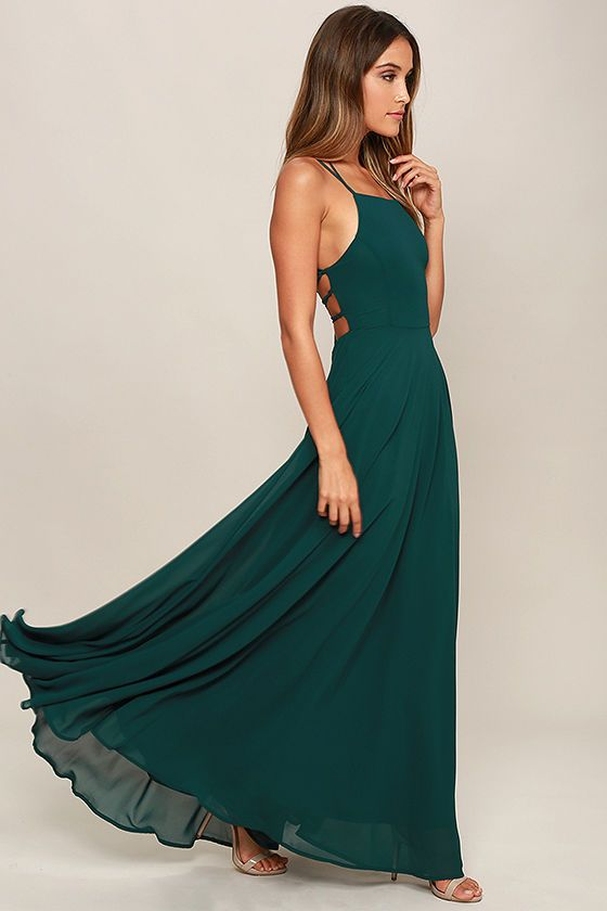 dd1a34126e The Strappy to be Here Forest Green Maxi Dress is your new fun go-to!  Dreamy, lightweight Georgette sweeps across a princess-seamed bodice and  strappy apron ...