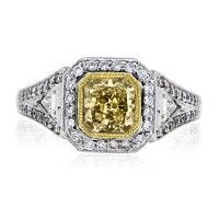 18k Two Tone Square Brilliant Fancy Yellow EGL Certified Engagement Ring
