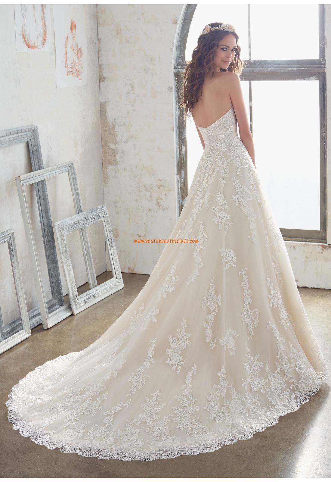 A-linie Romantische Traumhafte Brautkleider aus Spitze mit