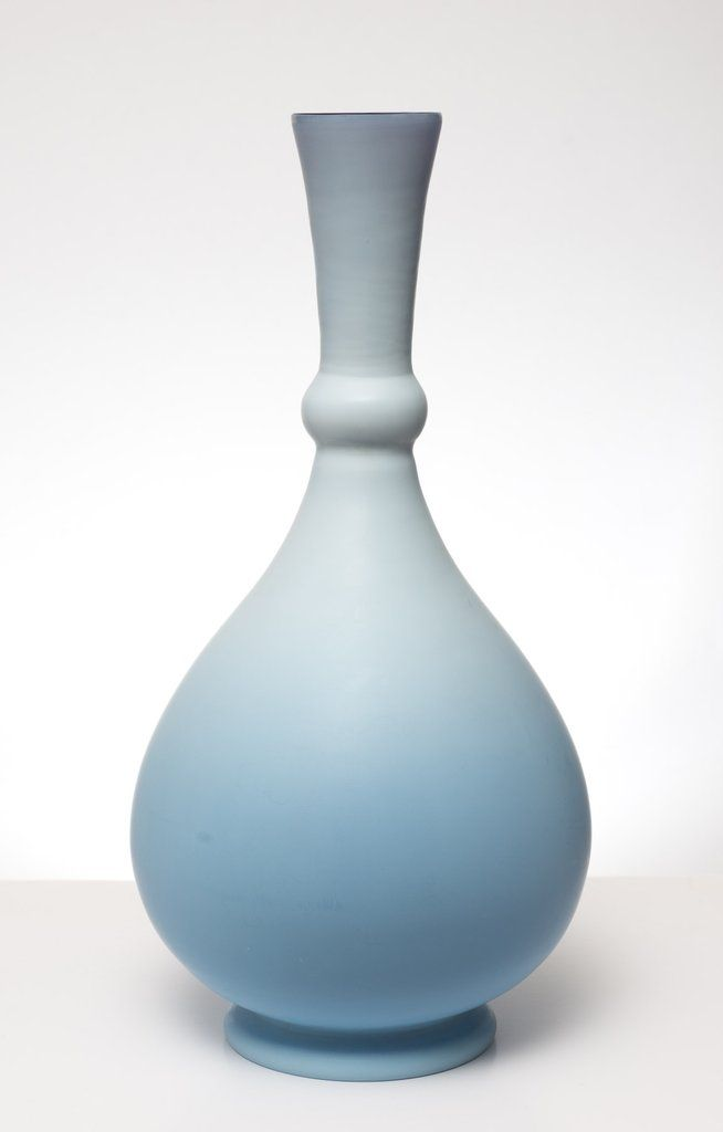 Antique Persian Shape Duck Egg Blue Cased Glass Vase Bohemian