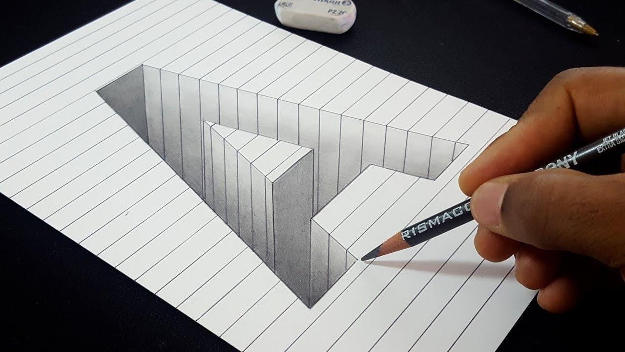 Easy Drawing In 2020 Easy Drawings Drawings On Lined Paper 3d Drawings