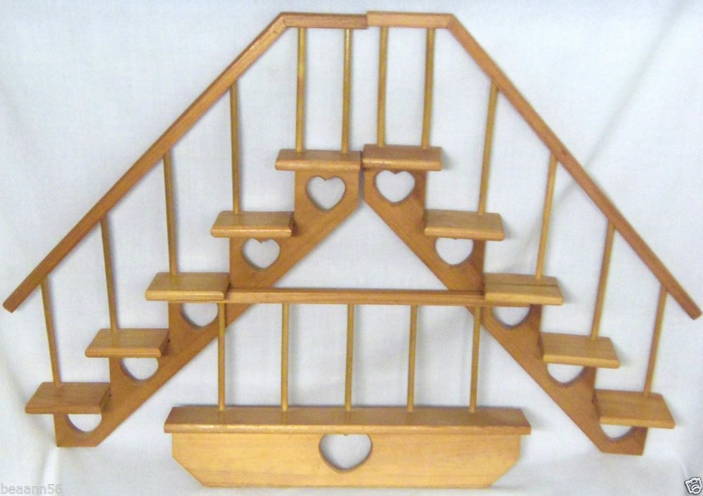 3 Piece Wooden Stair Step Wall Shelves Display Platform Railing #Country  #eBay