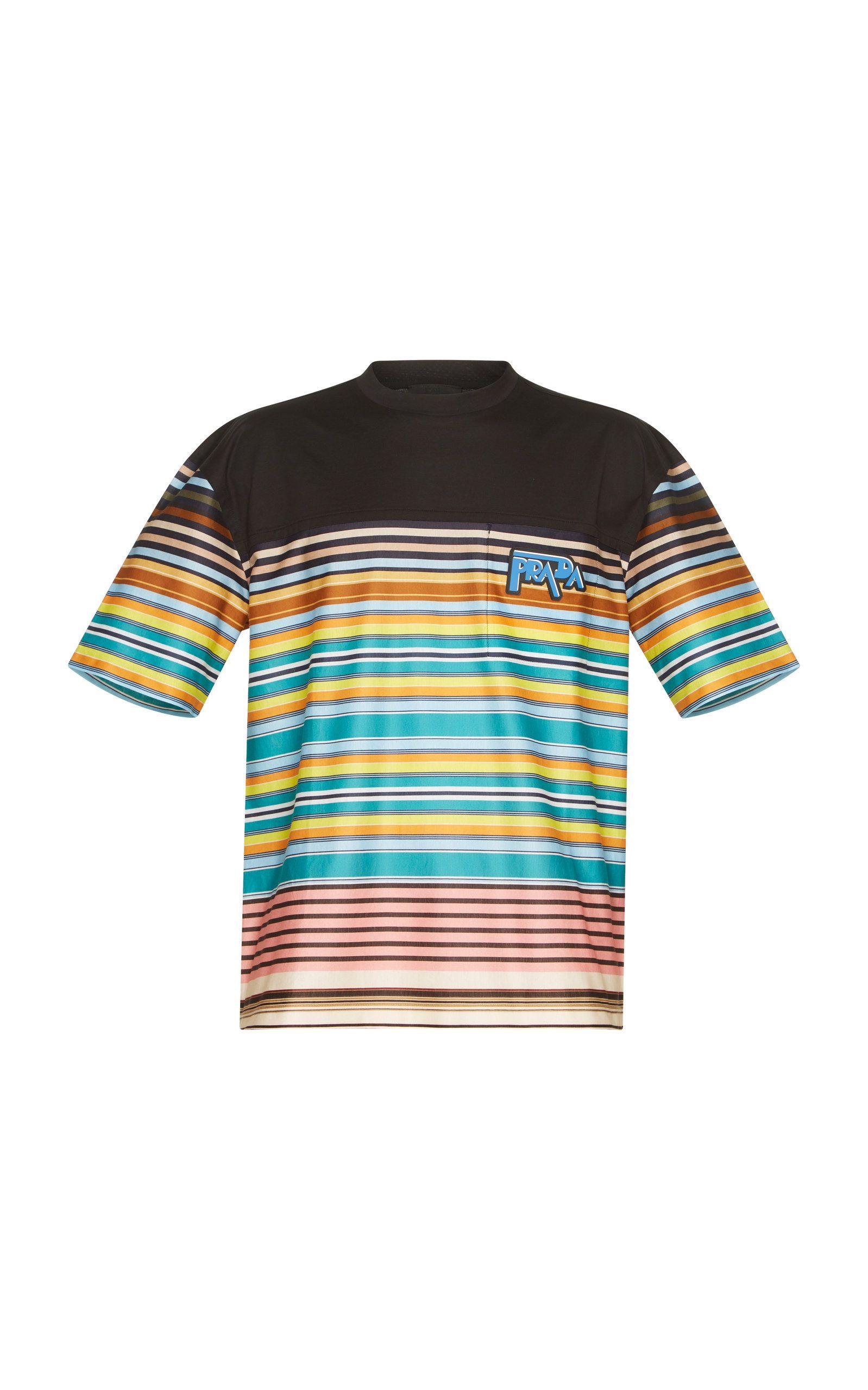 f49fd8ab4e PRADA BLACK COTTON MULTICOLOR LOGO TEE. #prada #cloth   Prada in ...