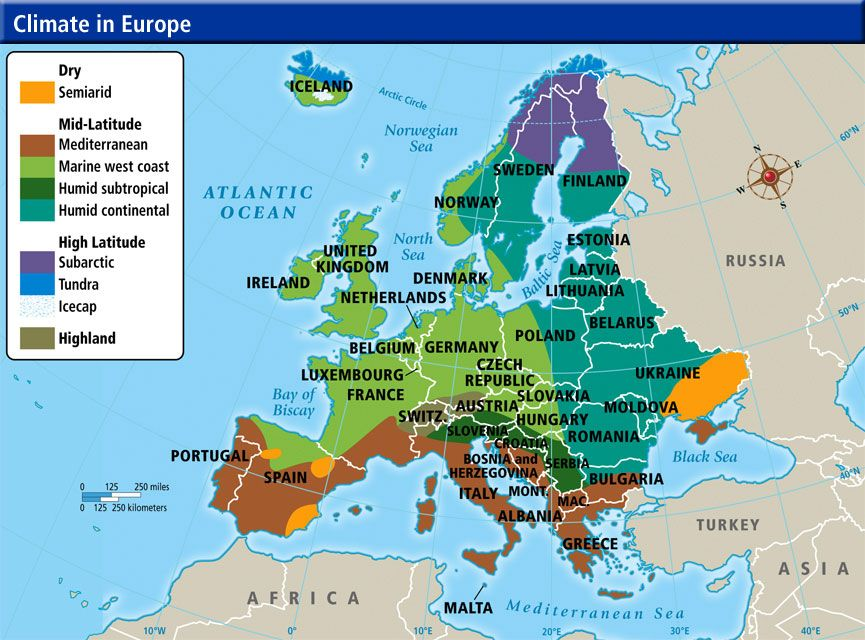European Climate Map | Europe | Map, Geography, Europe