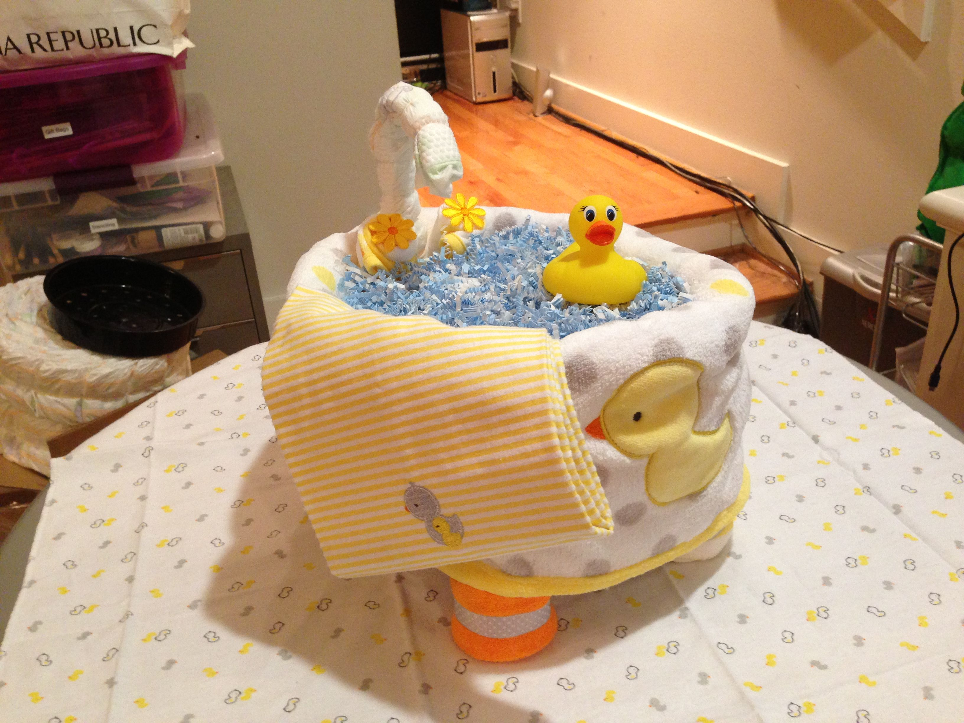 Diaper Cake Ducks Bath Tub Baby Diaper Tub Baby