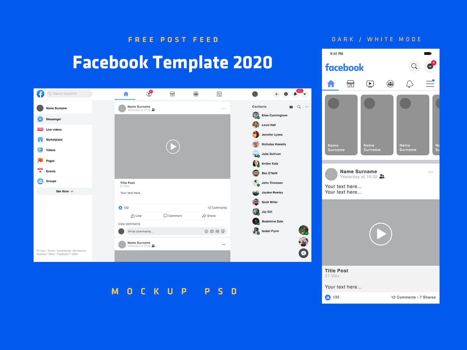 Free Mobile Desktop Facebook Post Feed Template 2020 Mockup Psd Set Good Mockups Mockup Psd Facebook Post Template Facebook Mockup