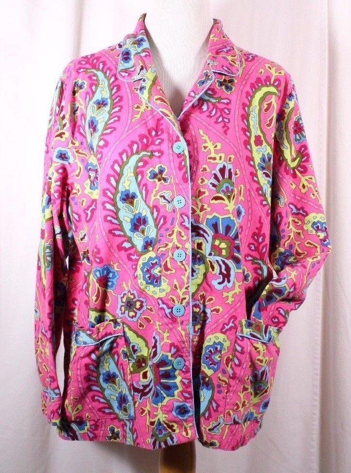 Nick & Nora Size XXL Flannel Bright Paisley L/S Sleep Top NO PANTS Top Only #NickNora #SleepShirt