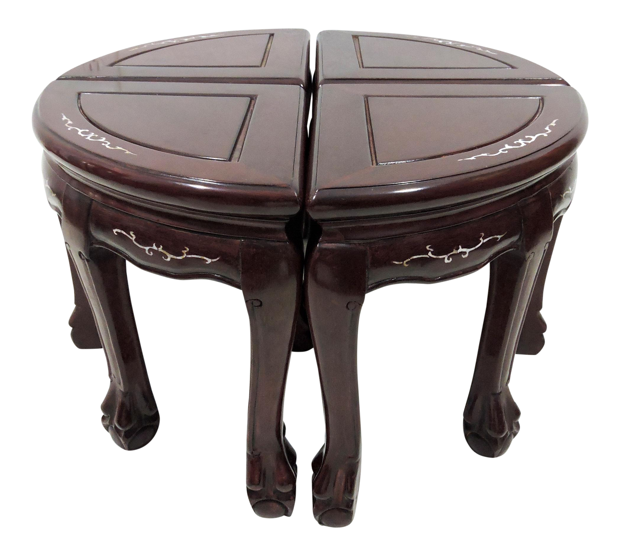Sold 20th Century Chinese Rosewood And Mother Of Pearl Coffee Table 4 Stools 2 Demi Lunes On Chairish Com Coffee Table Setting Coffee Table Table [ 1881 x 2094 Pixel ]